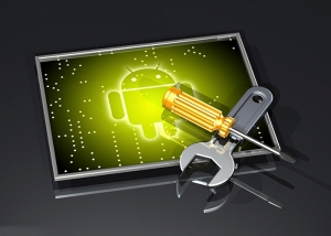 3d illustration of a large wrench and screwdriver lying in a cross over top of a framed glowing green Google Android logo