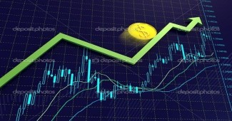 Blue Forex charts with green growing arrow and dollar coin